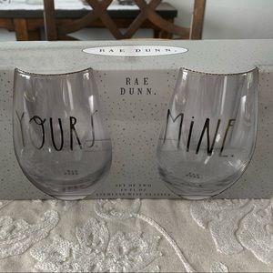 NWT Rae Dunn stemless wine glass set